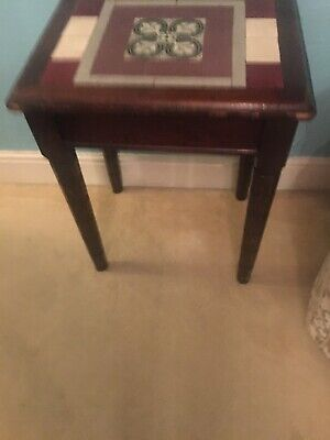 Antique Tile Top Oak Side Table, Hall Table Edwardian Arts & Crafts 1920s