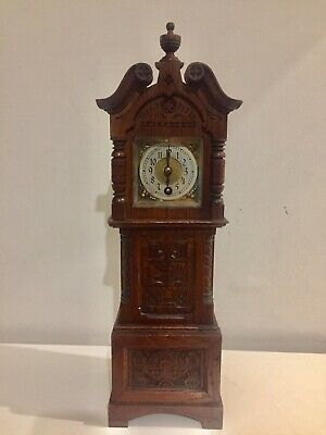 Antique Black Forest Carved Oak Cased Miniature Grandfather Clock By Lenzkirch