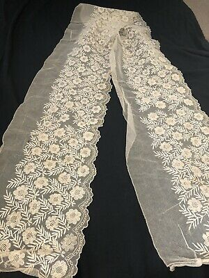"Vintage Victorian Lace Net 12"" Long Almost 3 Yards unused"