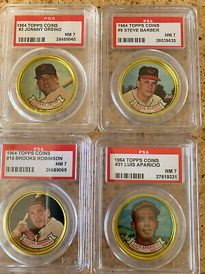 Eight (8) PSA NM 7 1964 Topps Coins Baltimore Orioles Brooks Robinson Powell