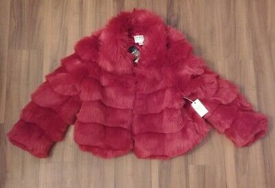 Forever 21 Faux fur burgundy red rose pink jacket Coat Fuchsia Wine maroon NWT