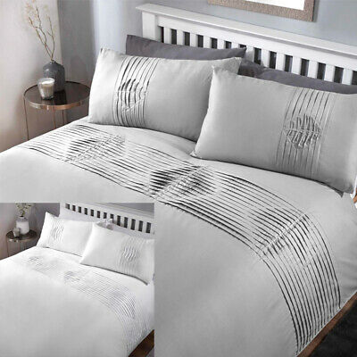 Plain Duvet Quilt Cover Bedding Set with Pleated Pintuck Border in 2 colours