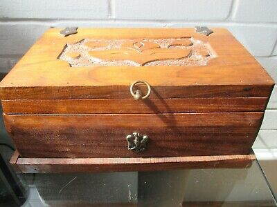Antique Black Forest Hand carved Large wooden box with German Coat of Arms