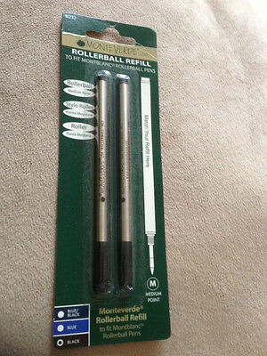 MONTBLANC BY MONTEVERDE ROLLERBALL MEDIUM Point Refill BLACK 2 Pack NEW 88515
