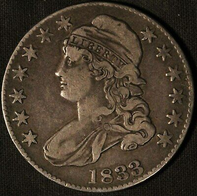 1833 United States Capped Bust 50c Half Dollar - Free Shipping USA