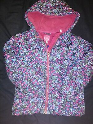 VGC Girls JOULES Navy Floral Winter Jacket Coat Padded Lined 6-7 Years