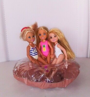 Barbie Sister Chelsea Dolls. Lot of 3 Dolls. Also comes with Doll Pool Float.