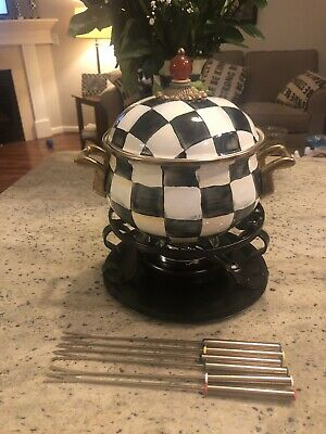 Mackenzie Childs Courtly Check fondue Set Never Used. Rare Retired Piece.