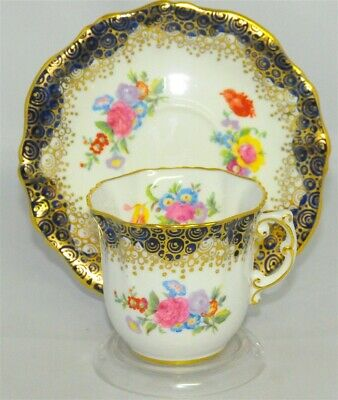 Hammersley Cobalt Blue Scalloped Floral Tea Cup & Saucer (Teacup)