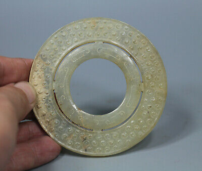 Chinese old Han Dy. white jade carved Double-deck Gu-wen design round Bi pendant