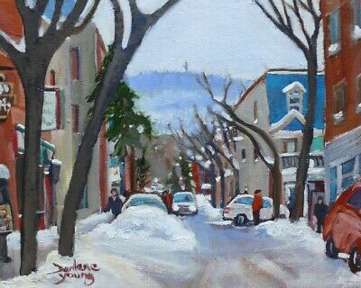 Warm Winter Day, Le Plateau Montreal,  8x10, Oil , Darlene Young Canadian Artist