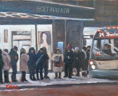 The 24, Montreal Winter Scene, 8x10, oil, Darlene Young Canadian Artist