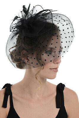 Zac's Alter Ego Spotted Lace & Net Fascinator with Feathers on Clip or Aliceband