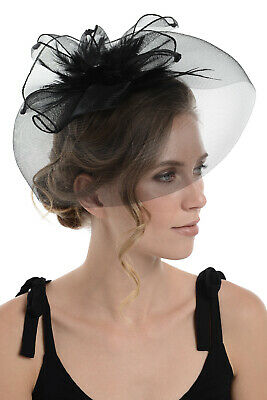 Zac's Alter Ego Lace & Net Fascinator with Feathers on Clip or Aliceband
