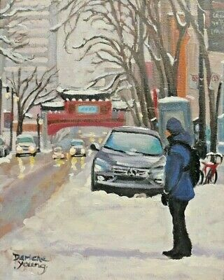 Montreal Winter Scene, Chinatown, 8x10, Oil , Darlene Young Canadian Artist