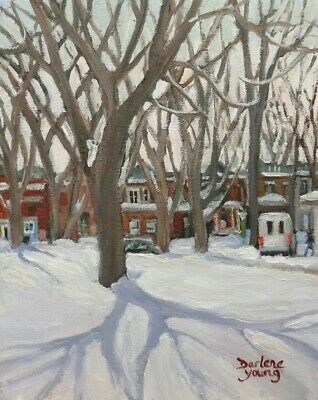 Montreal Winter Scene, Outremont Park  8x10, Oil , Darlene Young Canadian Artist