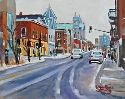 Montreal Scene, Le Plateau, 8x10 Oil, Darlene Young Canadian Artist