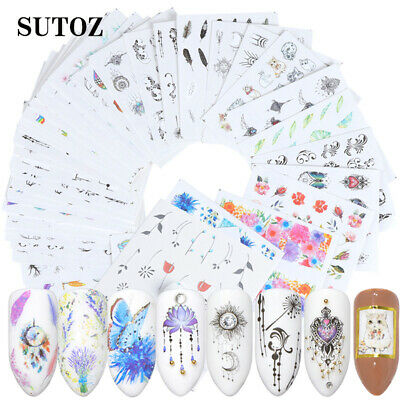 40 Sheets 3D Nail Art Transfer Stickers Decal Manicure Decor Tips Useful