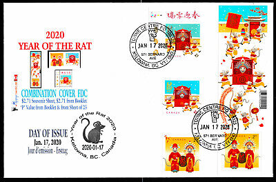 Year of the Rat - 2020-Canada Post- Combination FDC with FOUR stamps