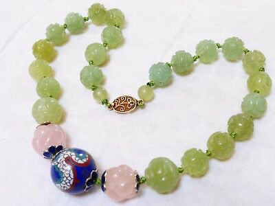 CHINESE VINTAGE CARVED JADE, Rose Quartz Enamel BEADS NECKLACE, Silver Clasp