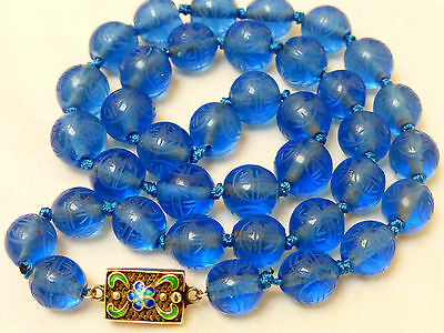 Chinese Antique Carved Shu Blue Peking Glass Bead Necklace, Silver Clasp