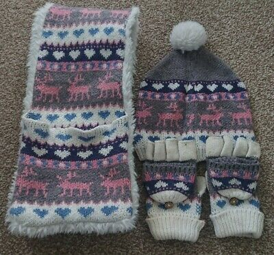 Fatface Girls Hat, Scarf & Glove Set, Age 5-6 Years