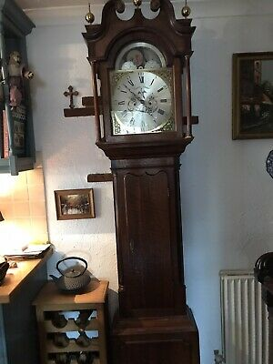 Antique English 30 Hr Striking Moonphase Longcase Grandfather Clock Movement