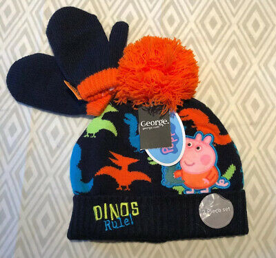 Peppa Pig George Bobble Hat and Mittens Winter Set Boys 1-3 Years NEW