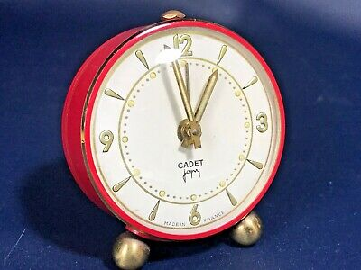 Vintage French Japy Freres CADET Series Desk RED Alarm Clock,Art Deco,Working