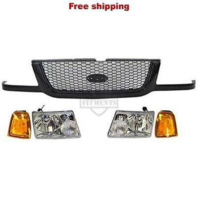 Fits 2001-2003 Ford Ranger FO1200395 Front Grille Black With Silver Mesh