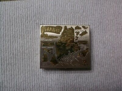 "Vintage Metal Compact Coin Holder Hinged Case Box 2 1/2 x 2 1/4"" MAINE"