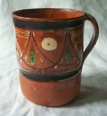 Small Mexican Red Clay Pottery Pitcher Hand-Painted