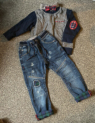 Boys Next Smart Jumper And Jeans Set Size 2-3 Years