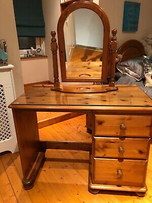 solid antique pine dressing table, glass top, mirror and stool
