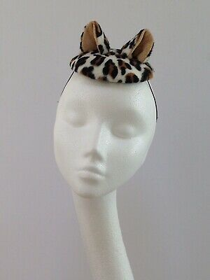 Vintage Style Leopard Print Kitty Cat Ears Cocktail Hat/ Fascinator