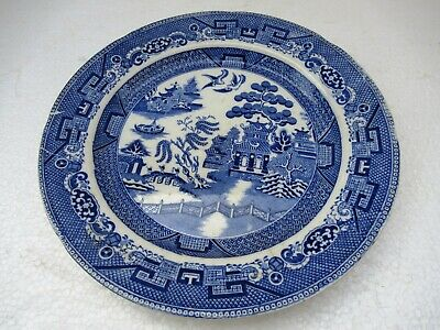 "Antique Stone China Willow Pattern Plate Blue & White Transferware Collectib""F12"