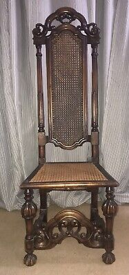 Carolean Revival Carved Oak & Cane Seat High Back Chair late Victorian c.1900