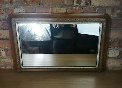 Antique Edwardian Walnut Wood and Parquetry Over Mantle Mirror Wall Hanging