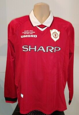 Retro Man Utd Jersey Manchester United Shirt 1999 Champions League Size Large