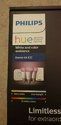 Philips Hue White and Colour Ambience Smart E27 Bulb X3 Starter Kit With Dimmer
