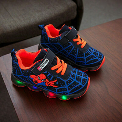Spiderman Kids Boys Girls Trainers Glowing Light Up Size EU 34