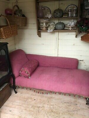 Victorian Upholstered Chaise Longue on Turned legs on casters for renovation