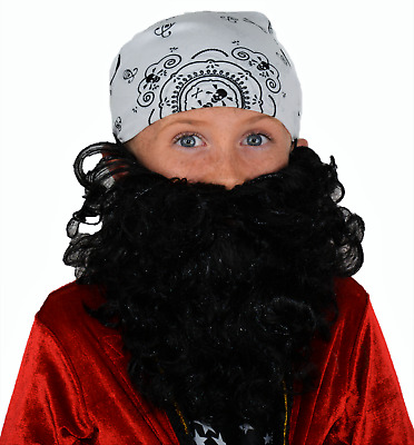 Kid's Black Curly Fancy Dress Beard. Quick Next Day Dispatch