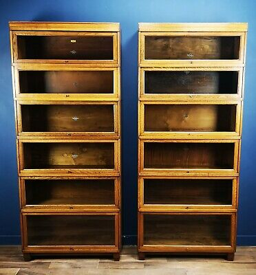 Pair Of Antique Art Deco Oak Globe Wernicke Barristers Library Bookcases