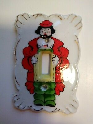 Vintage Antique Painted Clown Ceramic Light Switch Plate Cover Kelvin China L936