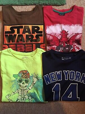 4 x Boys Short Sleeved T-shirts From NEXT & Disney Store, Size 8 Years
