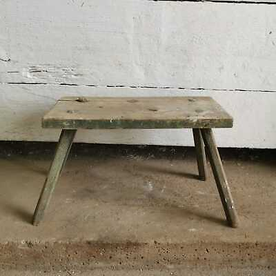 Antique Wide Hand-Carved Wooden Milking Stool or Small Table, Rustic Farmhouse