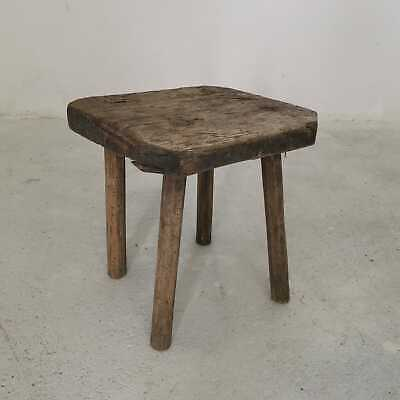 Antique Hand-Carved Wooden Milking Stool or Small Table, Vintage Farmhouse Seat