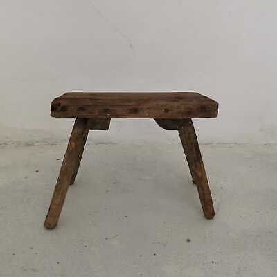 Antique Hand-Carved Wooden Milking Stool or Small Table, Rustic Farmhouse Seat