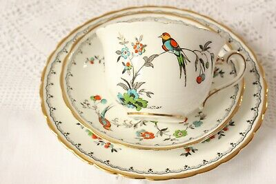 Rare Art Deco, Vintage Tuscan Bone China Bird Tea Set Trio,Teacup,Saucer & Plate